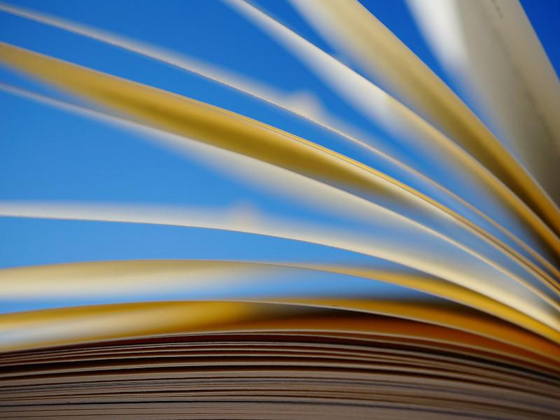 Libro con sfondo azzurro e pagine che si sfogliano